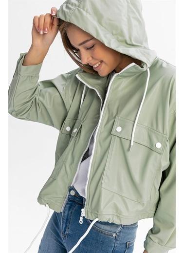 Levure Deri Kapüşonlu Ceket  Yeşil